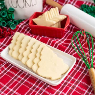 Christmas tree shaped cookies on a white tray