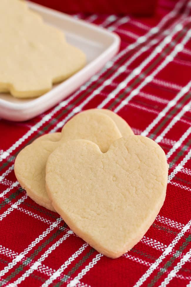 Heart shaped sugar cookies on a red napkin