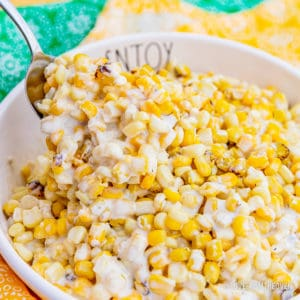 A bowl of crockpot creamed corn