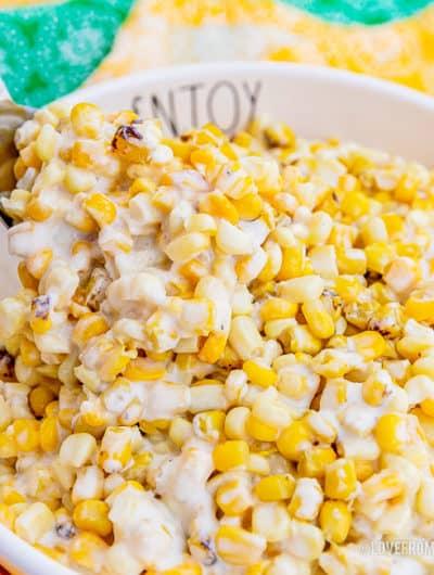 A bowl of crockpot creamed corn