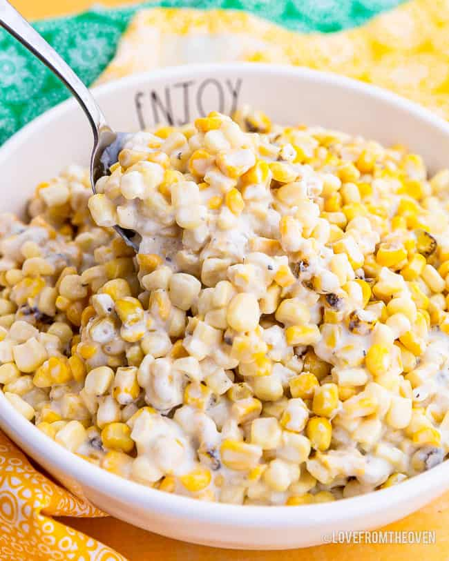 A bowl of creamed corn