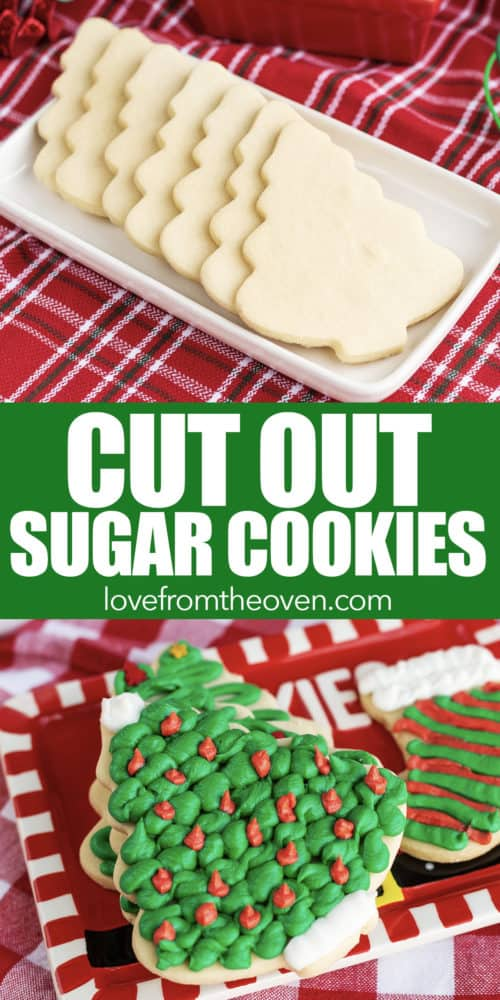 Several photos of cut out sugar cookies