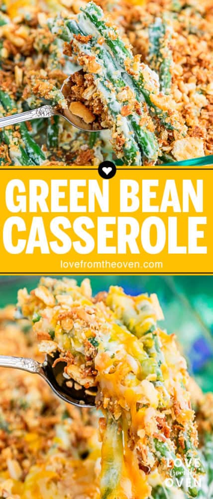 Several photos of green bean casserole