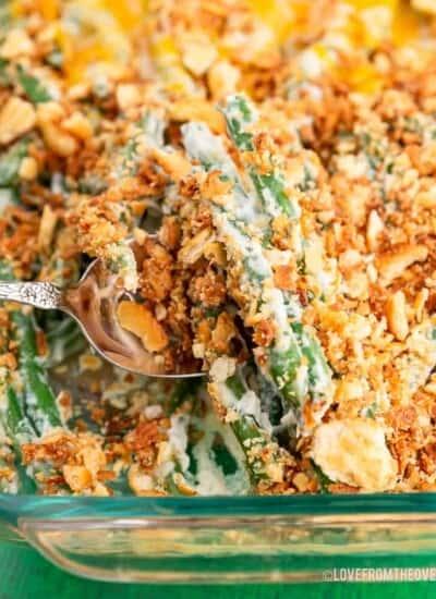 Green bean casserole in a glass baking pan