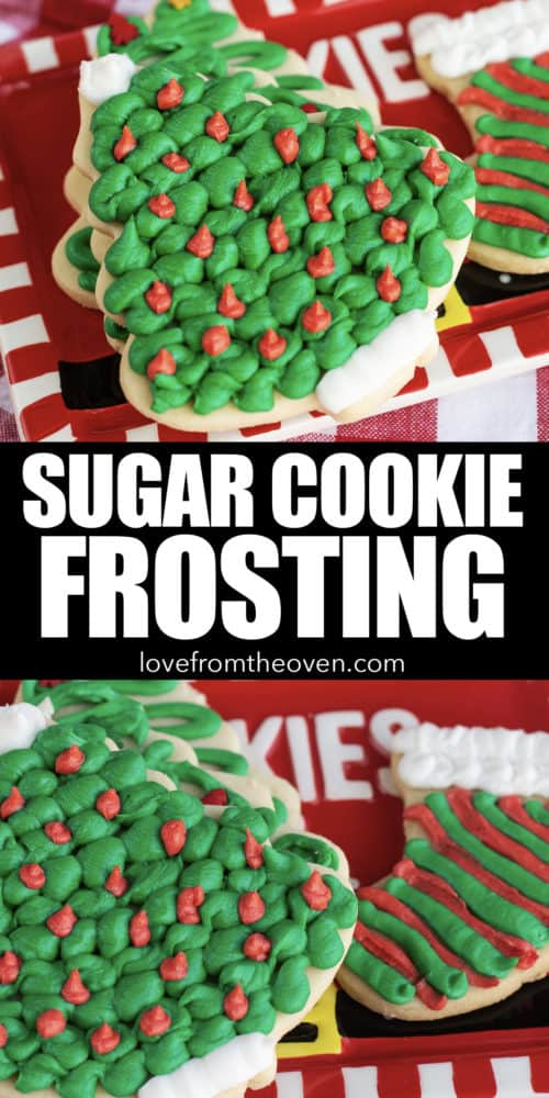Several images of frosted sugar cookies