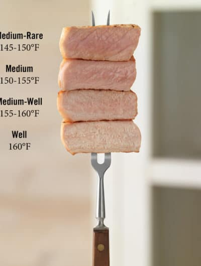A diagram of pork cooking temperatures