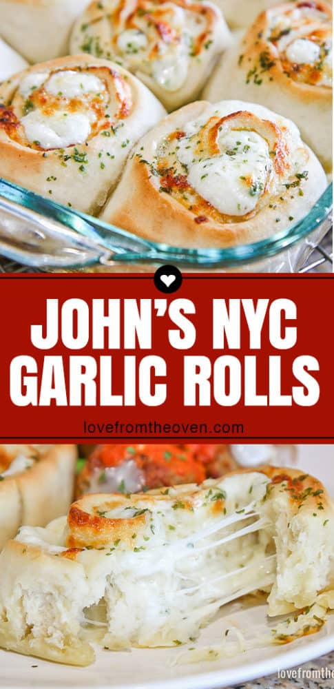 Several images of John\'s NYC garlic rolls