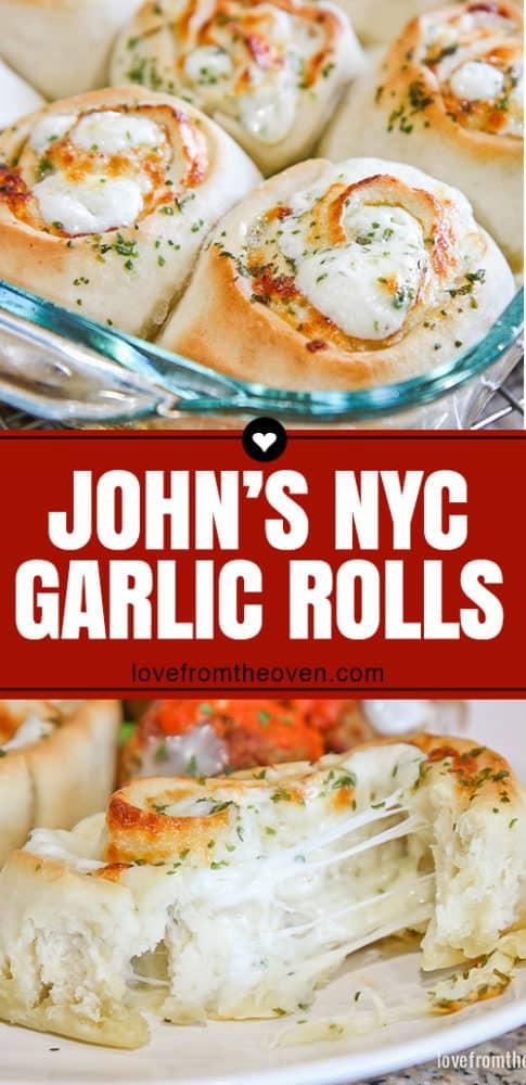 Several images of John\'s NYC garlic rolls