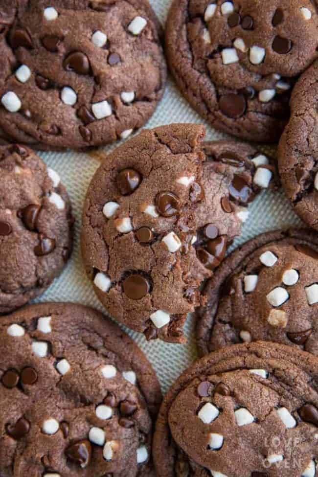 Overhead shot of several hot chocolate cookies