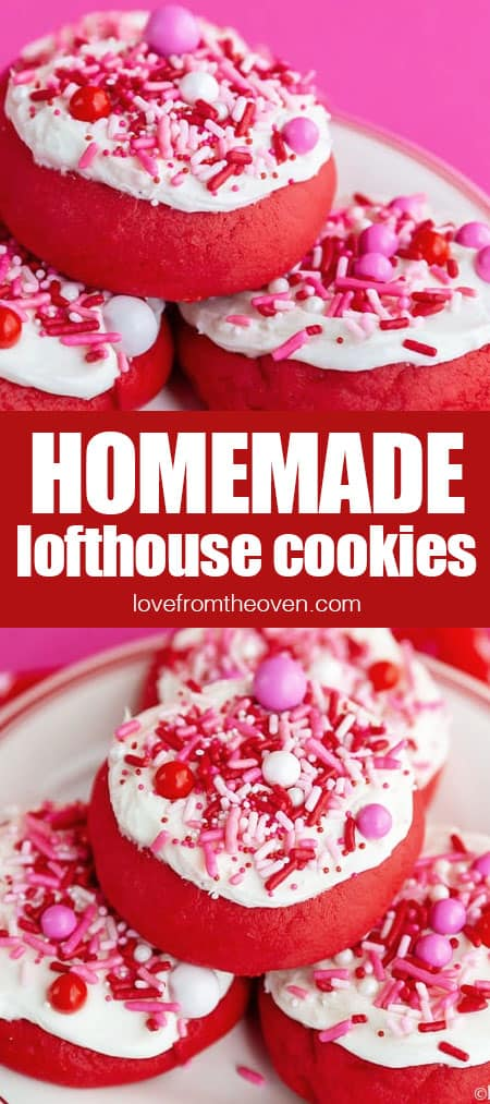 red lofthouse style cookies topped with white frosting and pink and red sprinkles