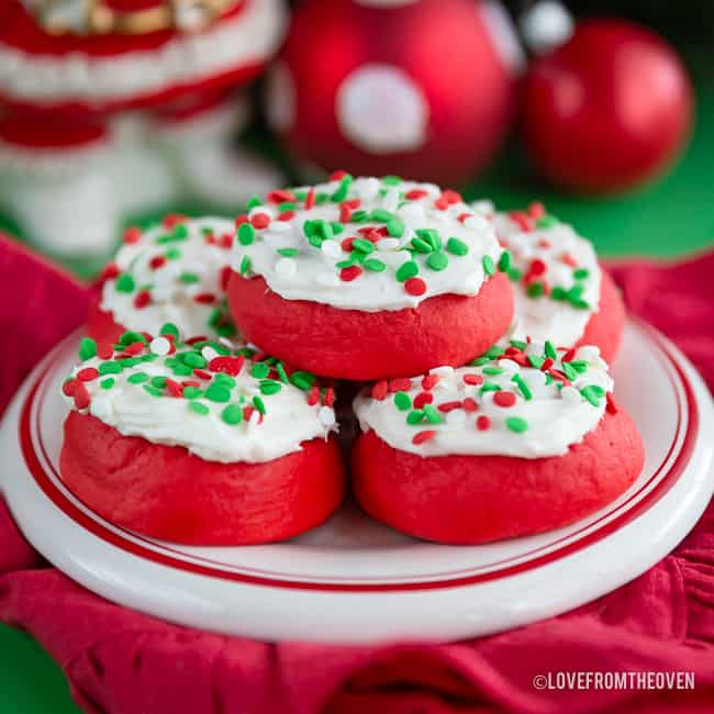 Lofthouse style cookies with Christmas-colored sprinkles