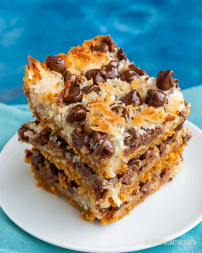 Three stacked magic cookie bars