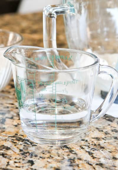 A measuring cup filled with water