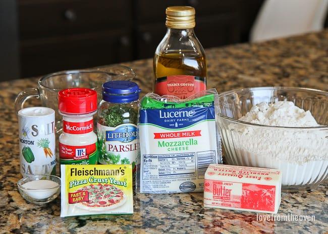 Raw ingredients for garlic rolls