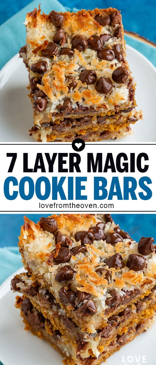 Several photos of 7 layer magic cookie bars