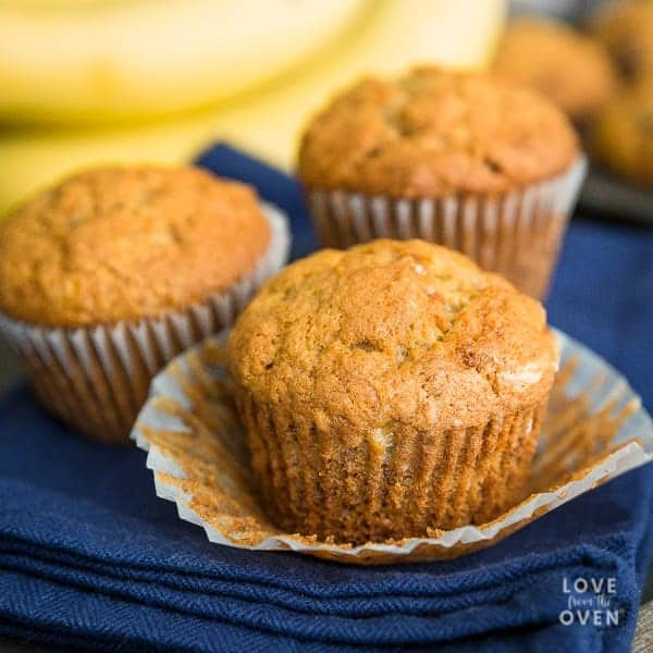 Close up of unwrapped banana bread muffins