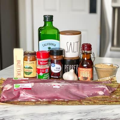 Raw ingredients for pork tenderloin
