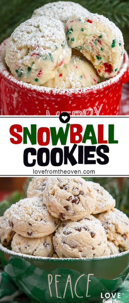 Several photos of snowball cookies