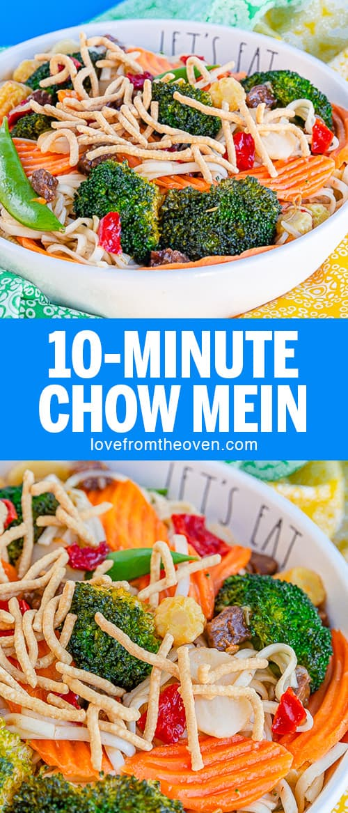 Several pictures of 10-minute chow mein