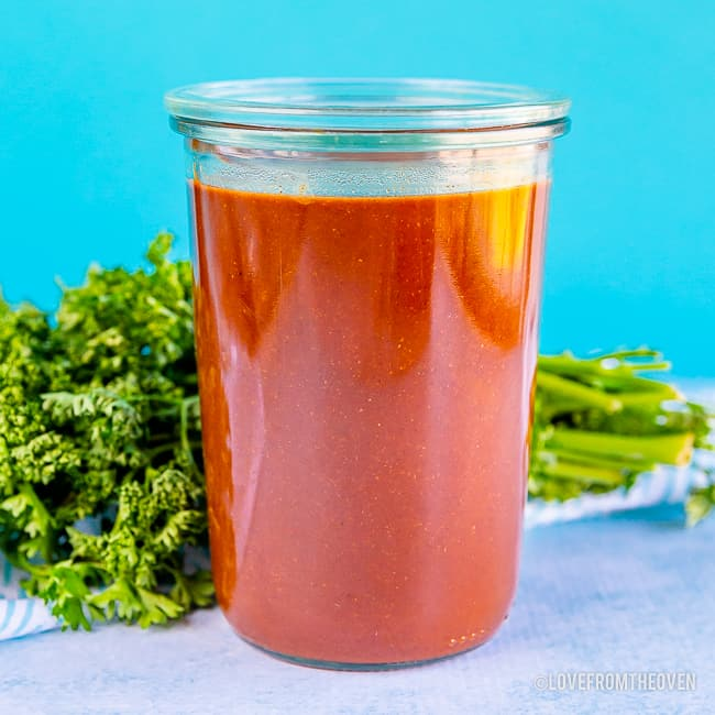 Jar of homemade enchilada sauce