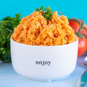 Mexican Spanish rice in a white bowl