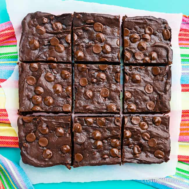 Black bean brownies cut into squares