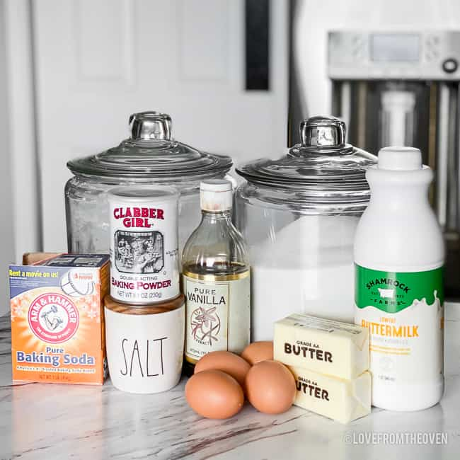 Ingredients for Kentucky Butter Cake including flour, sugar, baking powder and soda, salt, vanilla, eggs, butter and buttermilk