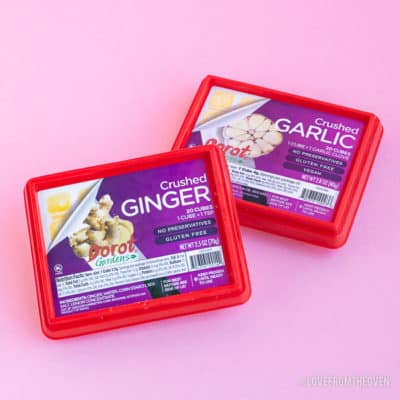Packages of Dorot crushed ginger and crushed garlic