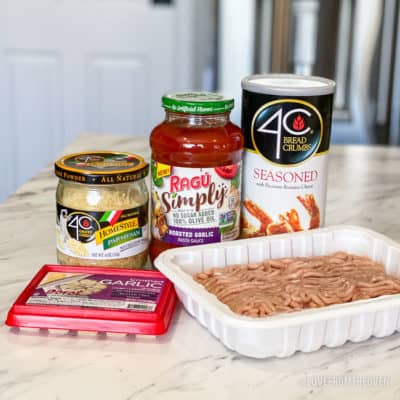 Ingredients for chicken parm meatballs in their containers