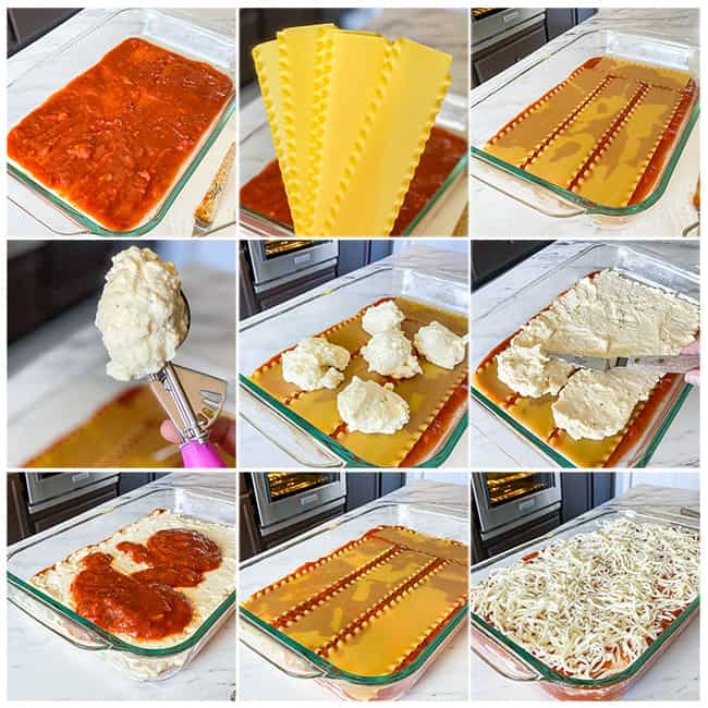 Step by step photos of how to make an easy lasagna