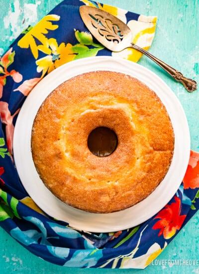 An overhead photo of a Kentucky butter cake.