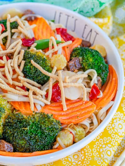 Close up of a bowl of chow mein