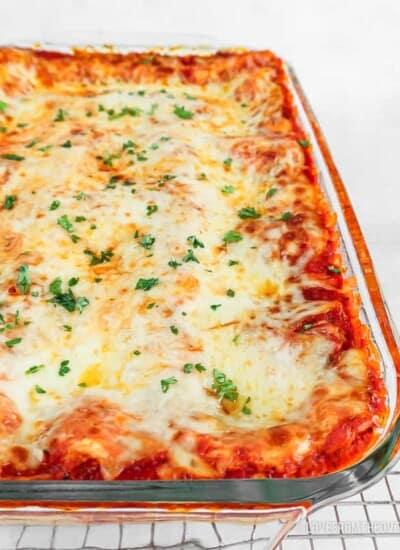 Cheese lasagna in glass baking pan