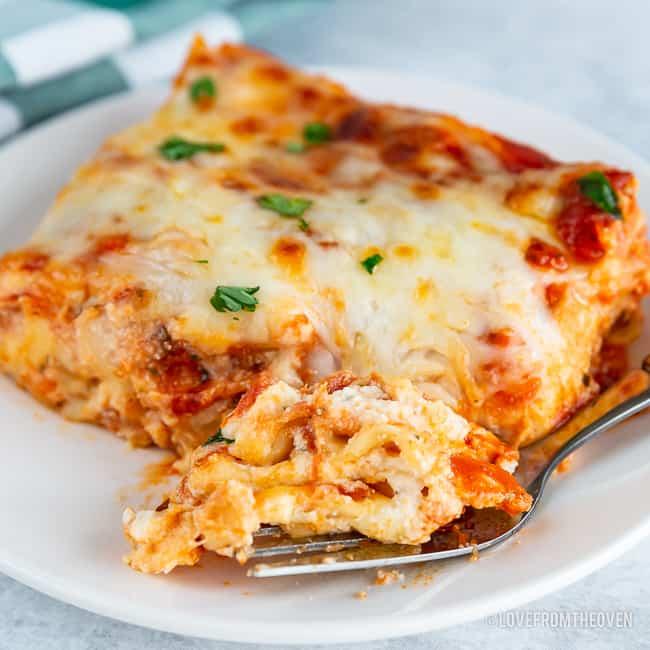 Close up of cheesy meatless lasagna