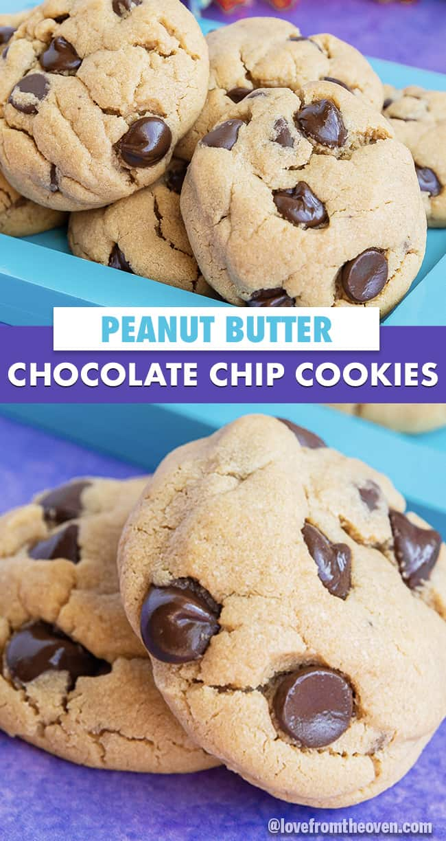 several images of chocolate chip peanut butter cookies