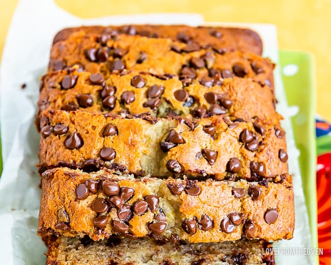 Sliced chocolate chip banana bread