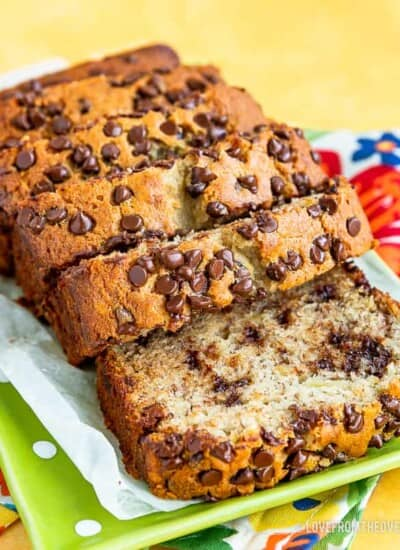 Several slices of chocolate chip banana bread