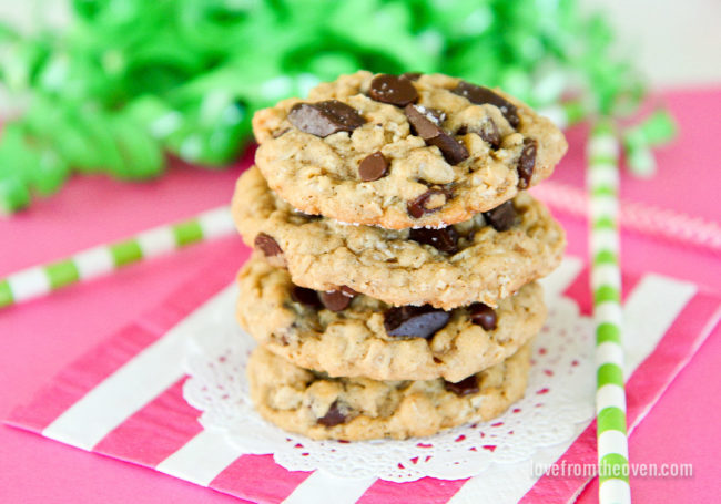 a stack of oatmeal chocolate chip cookies