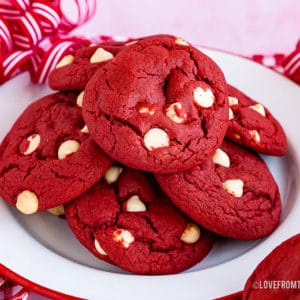 Stack of red velvet cookies on a plate