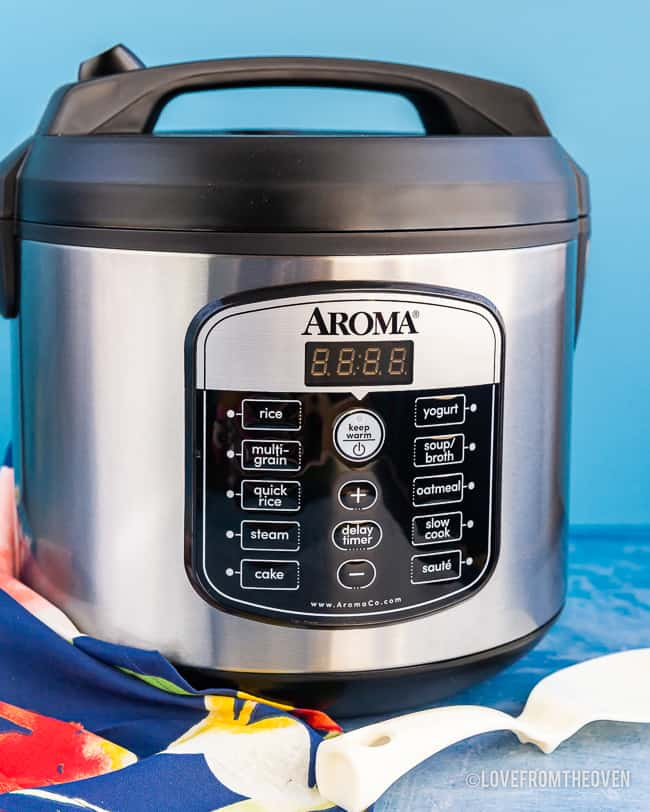 Aroma Rice Cooker with a blue background