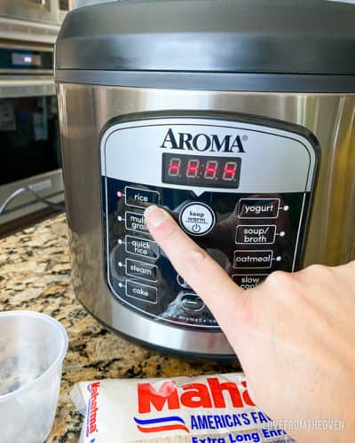 Buttons on rice cooker