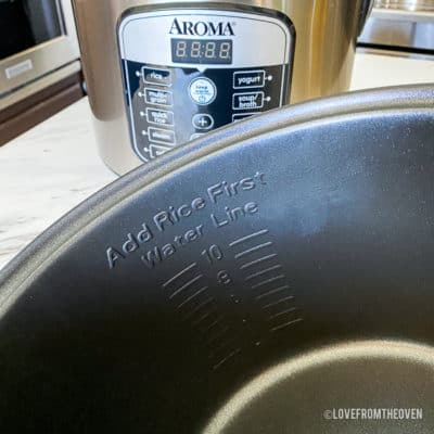 Inside of aroma rice cooker