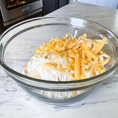 A bowl of ingredients for Cheddar bay biscuits