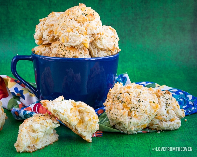 Stacks of Cheddar bay biscuits