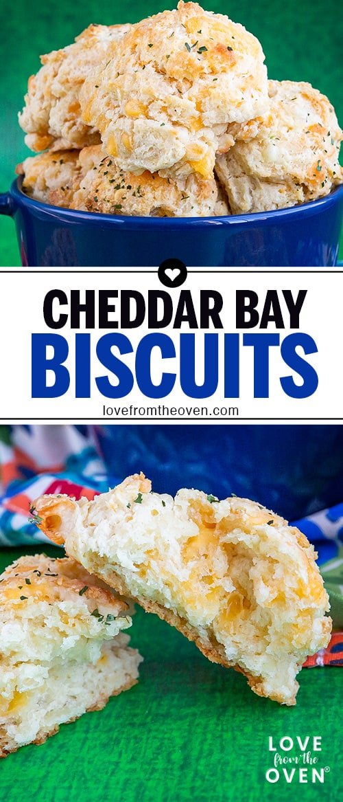 Several images of Cheddar bay biscuits