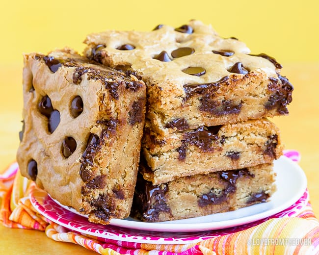 Stacked chocolate chip cookie bars