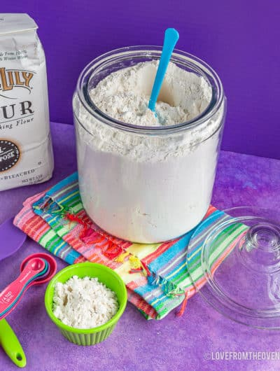 Glass canister of flour