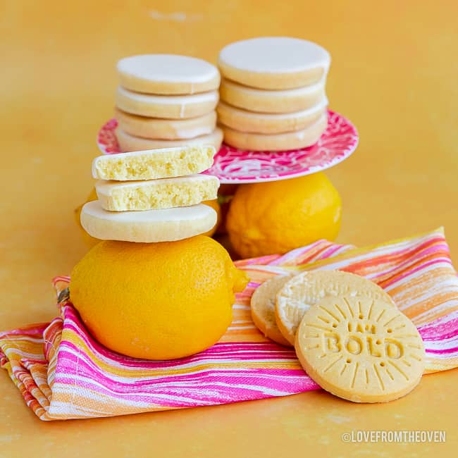 Several stacks of lemon cookies