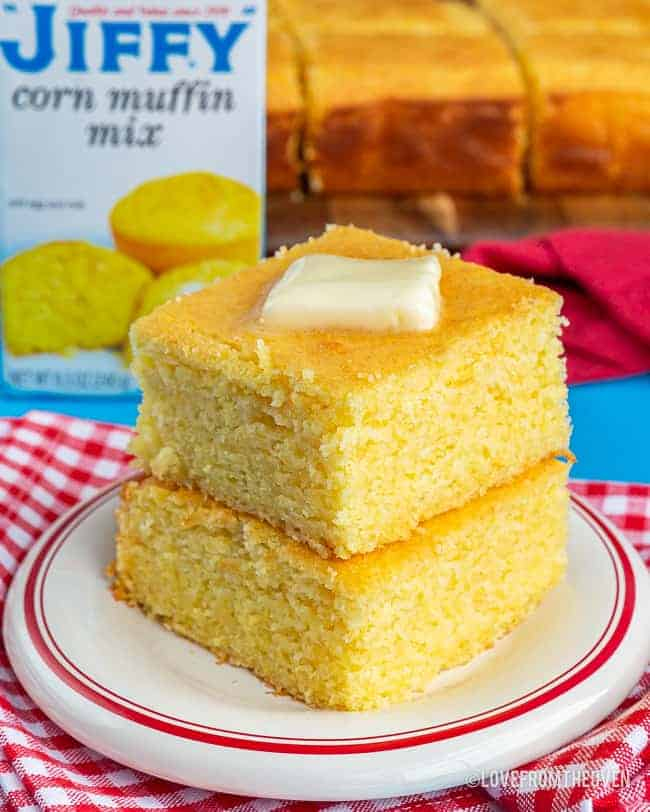 Pieces of cornbread on a plate
