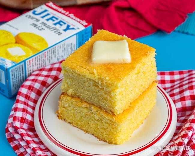Stacked pieces of cornbread